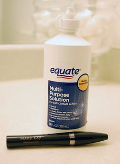 Mascara tip, if clumpy, freshen with 3 to five drops of saline solution or eye drops, stir and pump to mix.
