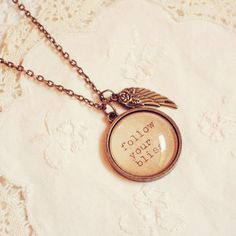 "Antique Bronze  ""Follow Your Bliss"" Inspiration Necklace"