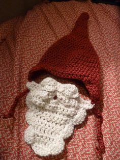 """Gnome Baby hat w/ """"beard"""" Scarf attached. My friend Carolyn Made This!! IT's for sale on Etsy!"""
