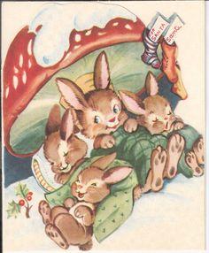Vintage Christmas Card - Rabbits Sleeping Under a Mushroom Images Noêl Vintages, Images Vintage, Vintage Christmas Images, Old Christmas, Old Fashioned Christmas, Christmas Mood, Vintage Holiday, Christmas Pictures, Vintage Greeting Cards
