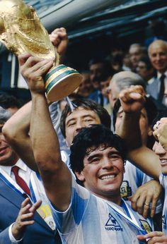 Diego Maradona holds aloft the World Cup trophy, 29 June Source: Hublot Football Drills, Football Icon, World Football, Football Stadiums, Soccer World, Sport Football, Football Stuff, Fifa, Argentina Football Team