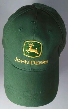 c9e8180bd56 John Deere Green Cap Hat Adjustable Size Adult Farm Equipment Yellow Deer  Cotton