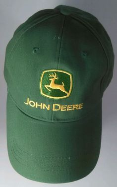 John Deere Green Cap Hat Adjustable Size Adult Farm Equipment Yellow Deer Cotton #JohnDeere #BaseballCap