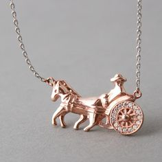 CZ STERLING SILVER HORSEMAN AND HORSE DRAWN CARRIAGE NECKLACE ROSE GOLD JEWELRY by kellinsilver