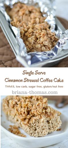 Single-Serve Cinnamon Streusel Coffee Cake...THM:S, low carb, sugar free, gluten/nut free