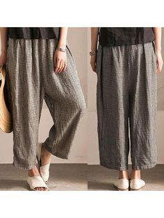 5cd1b8ac35f Women Irregular Lattice Loose Linen Cotton Long Pants Linen Pants