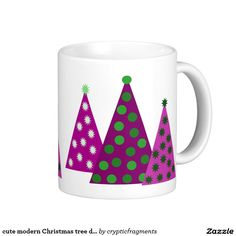 cute modern Christmas tree design Classic White Coffee Mug