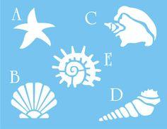 STENCIL Seashell Starfish Snail Nautical Beach Decor