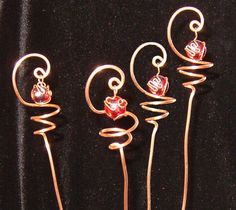 4 Solid Copper and Ruby Red Glass Suncatcher Plant by TwistsOnWire, $16.75