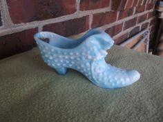 Vintage Fenton Light Blue Milk Glass Cat Hobnail Shoe Slipper
