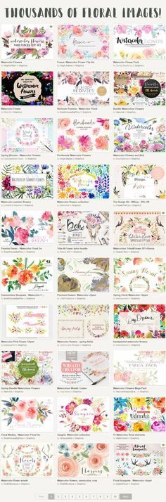 Favorite floral clipart resource! Search for 'watercolor flowers' in the search bar! https://creativemarket.com/free-goods?utm_source=Link&utm_medium=CM+Social+Share&utm_campaign=Free+Goods+Social+Share&utm_content=Free+Goods+Of+The+Week+~+Creative+Market&u=fptfy from Free Printables: - http://www.freeprettythingsforyou.com