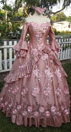 In-Stock Dusty Rose Floral Sparkle Carnivale Marie Antoinette Masquerade Gown Small/medium