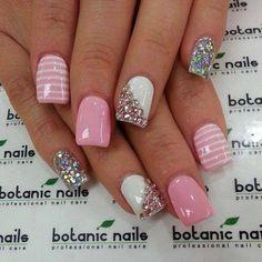 Botanic nails pink, white and diamonds Glam Nails, Fancy Nails, Love Nails, Pink Nails, Beauty Nails, White Nails, Silver Nail, Nail Factory, Botanic Nails