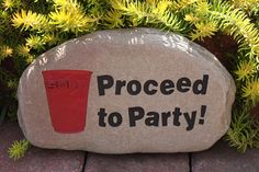 Hand Engraved Rock - Red Solo Cup, Proceed to Party Redneck Party, Bbq Party, White Trash Bash, Red Solo Cup, Jamie Mcguire, Painted Rocks Craft, Rock Concert, Unusual Gifts, Hand Engraving