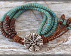 Seed Bead Jewelry/ Sunflower Leather Bracelet/ Seed Bead