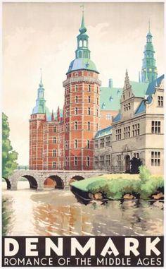 1930s poster of Rosenborg Castle, placed in the heart of Copenhagen