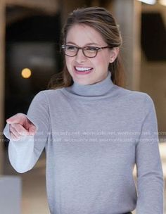 Kara's grey turtleneck sweater on Supergirl. Outfit Details: https://wornontv.net/68258/ #Supergirl
