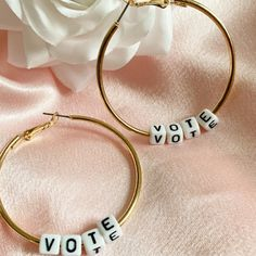 Excited to share this item from my #etsy shop: VOTE, Vote Hoop Earrings, 2020 Election Item,!Harry Styles Inspired, Gold Hoop, Letter Earrings, Political Earrings, Gold Vote Hoop Earring #latchback #earlobe #customearrings #vote #hoopearrings #letterbeads #jewellery #election2020 #vote2020 Letter Earrings, Letter Beads, Hoop Earrings, Custom Earrings, Earrings Handmade, Black Letter, Free Black, Gold Hoops, Harry Styles