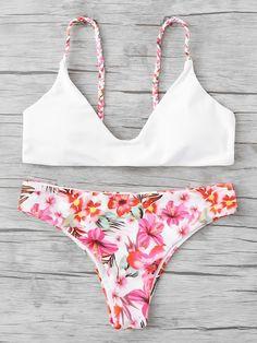 aeb2364ed0 Braided Straps Calico Print Bikini Set