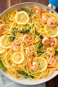 Lemony Shrimp and Asparagus Spaghetti  - Delish.com