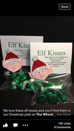 Hershey Kisses !!! A Cute Idea - to go with your Elf on a Shelf, or to replace it.