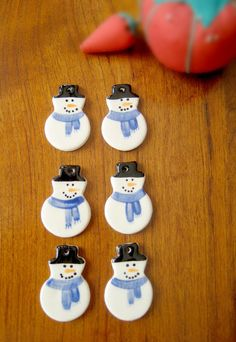 Six Snowman Ceramic Buttons  Hand Painted by RedDressHanger, $15.00