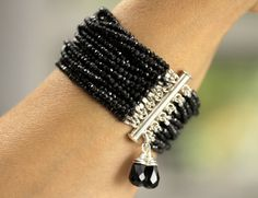 The New Yorker/Black Spinel MultiStrand by TeeceTorreJewelry, $375.00
