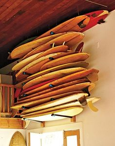 boards stacked high