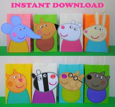 **Instant Download Files** **Unlimited Printing!! Make your own Peppa Pig Friends Treat Bags with these adorable templates. All you have to do is Print, Cut & Glue the cutouts onto your favorite colored treat bags. **Suggested Bag Size: Approx. 5.25W x 8.375H Whats included in