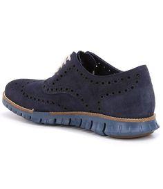 caaa152bead8e Marine Blue Washed Indigo Madras Cole Haan Men´s Zerogrand Wingtip Leather  Oxfords