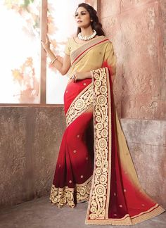 Shaded Red with Beige Color Party Wear Embroidered Indian Ethnic Saree Latest Saree Blouse, Saree Blouse Designs, Designer Blouses Online, Party Wear Sarees Online, Ethnic Sarees, Stylish Sarees, Beautiful Costumes, Saree Look, Chiffon Saree