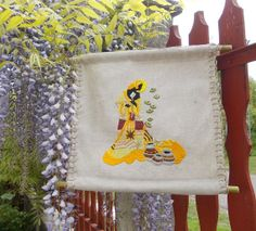 Wall hanging hand embroidered canvas unique by embroidream on Etsy, $75.00