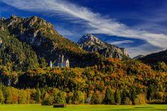 Allemagne Montagnes Château fort Forêts Neuschwanstein Ciel Bavière Arbres…