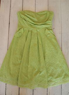 Lime Eyelet Tube Dress W/Pockets