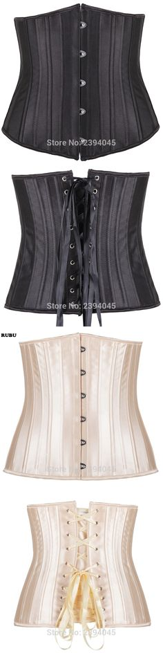 Body Shaper Woman Sexy Waist Control underbust Corsets & Bustiers Black Satin 24 Steel Bone corset Waist Cincher Corselet