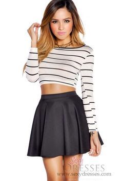 stripped crop-top, black skirt, outfit