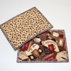 Tossed Coffee Cups Quilted Mug Rug - Snack Mat - Coaster - Pot Holder - Trivet - Reversible Table Runner And Placemats, Table Runners, Quilt Placemats, Small Quilts, Mini Quilts, Quilting Projects, Sewing Projects, Mug Rug Patterns, Quilt Patterns