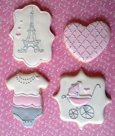 Paris Baby Shower onesie, pink heart, stroller, and Eiffel Tower cookies Baby Girl Cookies, Onesie Cookies, Cookies For Kids, Baby Shower Cookies, Cute Cookies, Cupcake Cookies, Cupcakes, Baby Shower Themes, Baby Shower Gifts