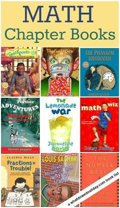 Chapter Books Kids Will Love Math Chapter Books for kids :: these make math fun for math lovers AND kids who are wary of math.Math Chapter Books for kids :: these make math fun for math lovers AND kids who are wary of math. Math Teacher, Math Classroom, Teaching Math, Teaching Ideas, Classroom Libraries, Classroom Decor, Teacher Stuff, Math Literature, Math Books
