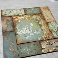 Decoupage Art, Decoupage Vintage, Mixed Media Canvas, Mixed Media Art, Diy Wall Art, Diy Art, Paper Art, Paper Crafts, Art Techniques