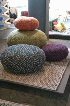 Jessica Light: LONDON DESIGN FESTIVAL 2013 woven wool giant pebble pouffes cushions textile art in home interior design