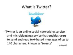 Introduction to Twitter. This presentation from Faculty eCommons highlights the very basics of Twitter for beginners.