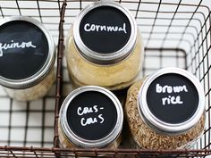 Add chalkboard labels to mason jar lids.