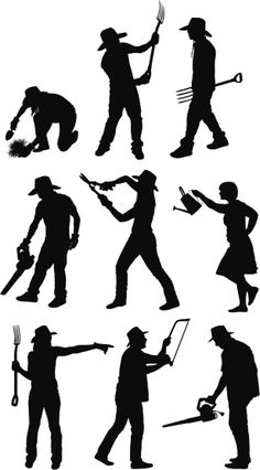 Vectores libres de derechos: Silhouette of people gardening