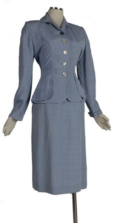 womens suits 1940s | Vintage 1940s Pale Blue Hourglass Summer Suit with MOP Button & Great ...