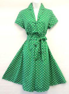 Rosa-Rosa-Green-Polka-Dot-WWII-1940-s-Home-front-Land-girl-Swing-Tea-Dress-UK18