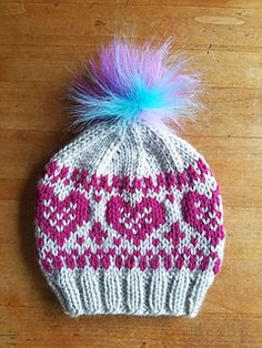 A Valentine-themed fair isle hat that's lovely to wear all winter long!
