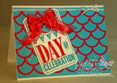 Stampin' Up! Striped Scallop Thinlits Die, Day of Celebration and Organza Ribbon colored with Blendabilities. Debbie Henderson, Debbie's Designs.