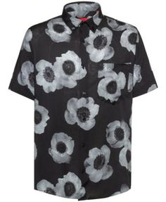 Hugo Boss Men's Large-Scale Floral Shirt - Black L
