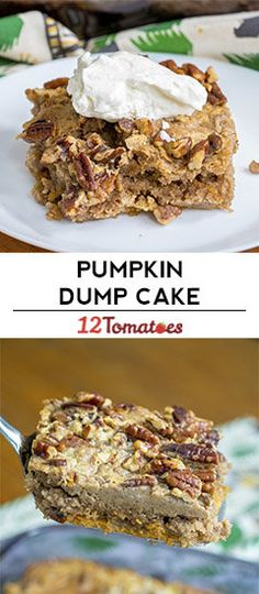 Pumpkin Pie Dump Cake (use butter yellow cake to taste pumpkin) Thanksgiving Desserts Easy, Fall Desserts, Just Desserts, Delicious Desserts, Dump Cake Recipes, Dump Cakes, Dessert Recipes, Bundt Cakes, Dessert Ideas